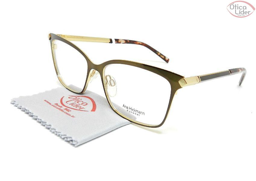 027fb4484 Óculos Ana Hickmann AH1329 01a 52 Metal Bronze / Dourado - 12x sem ...