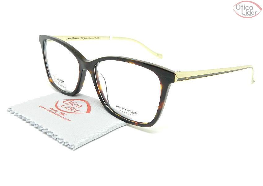 4fb22a8b4 Óculos Ana Hickmann AH London IV Shiny 54 Acetato Mesclado / Titanium  Dourado