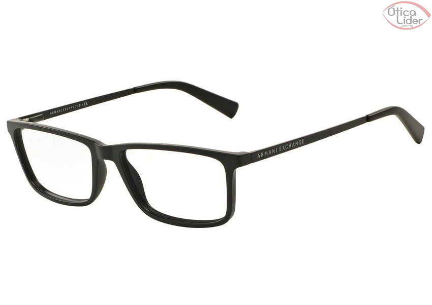 f657613308c79 Armani Exchange AX3027L 8078 55 Acetato Preto   Haste Metal - 12x ...