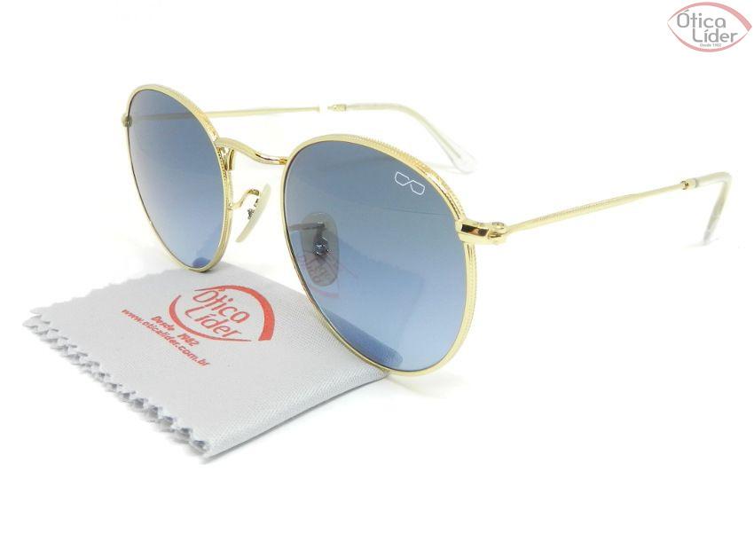36c1b535bfeb3 Difaty DF0161 c7 50 Round Metal Dourado Lente Azul Degradê - 12x sem ...