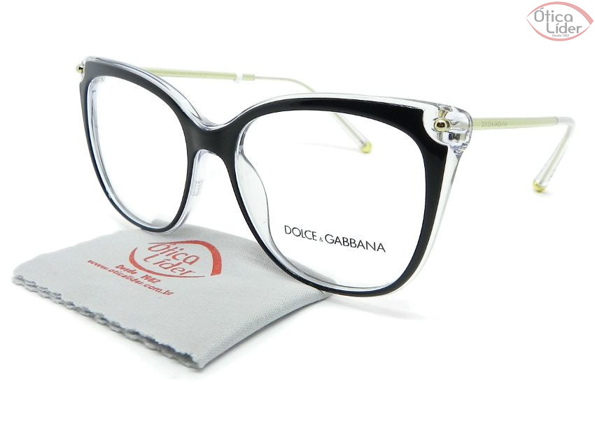 2fc9d80a5a165 Dolce   Gabbana DG3294 675 54 Acetato Preto Cristal - 12x sem juros ou 20%  OFF na Ótica Líder
