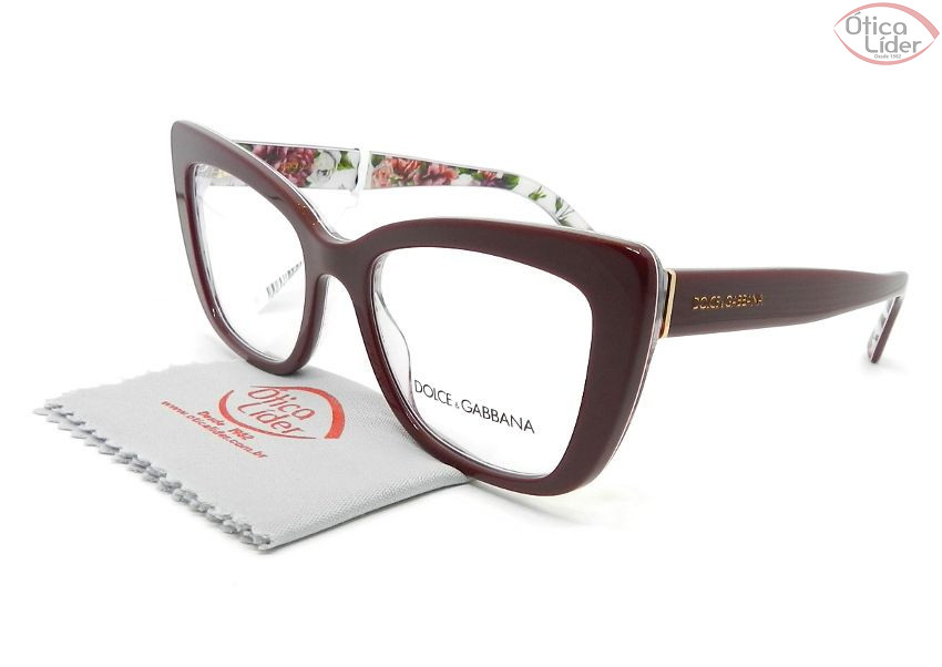 1ed4285e8 Dolce & Gabbana DG3308 3202 51 Acetato Bordô/Floral - 12x sem juros ou 20%  OFF na Ótica Líder