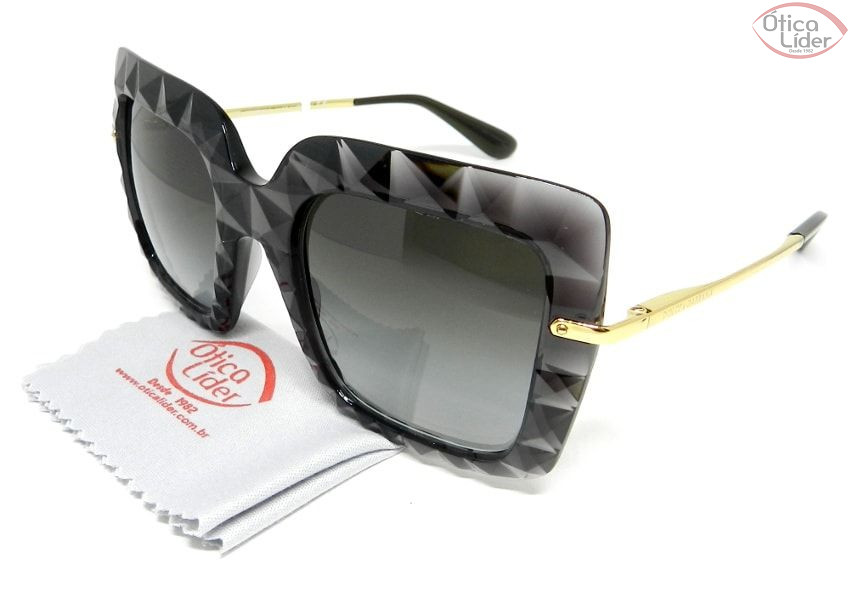 5b4fd10dbd5a3 Dolce   Gabbana DG6111 504 8g 51 Acetato Preto Transparente   Dourado