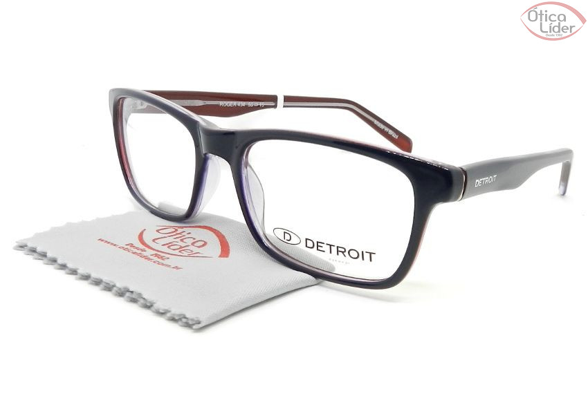 Detroit Roger DT434 50 Basic Acetato Azul   Vermelho Cristal - 12x sem  juros ou 20% OFF na Ótica Líder d4772909c6