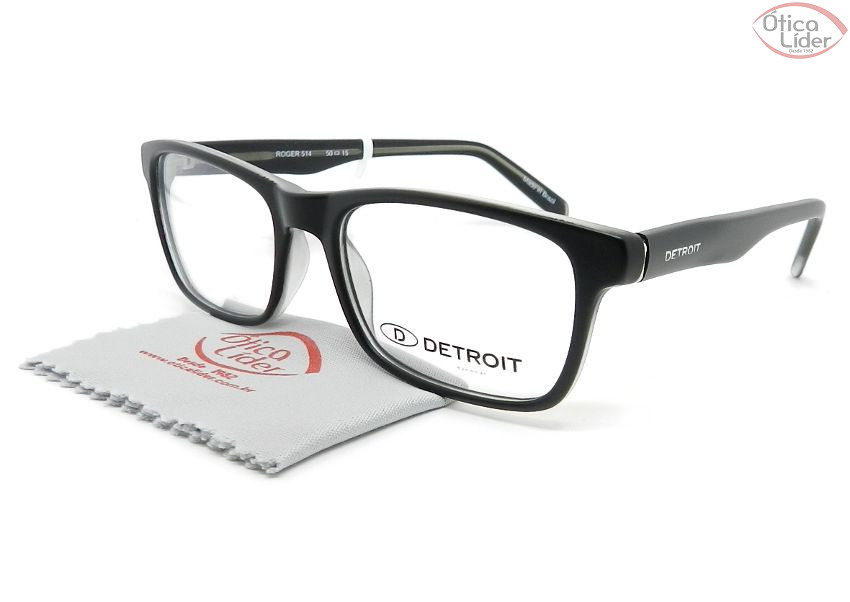 3ce532a95 Detroit Roger DT514 50 Basic Acetato Preto Fosco / Cristal - 12x sem juros  ou 20% OFF na Ótica Líder