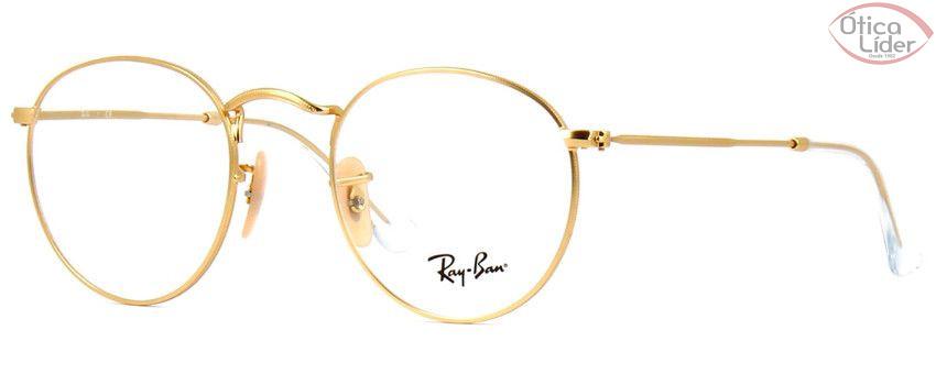 588aa9b3bb0b0 Ray-Ban RX3447v 2730 47 Metal Dourado Round - 12x sem juros ou 20% OFF na  Ótica Líder