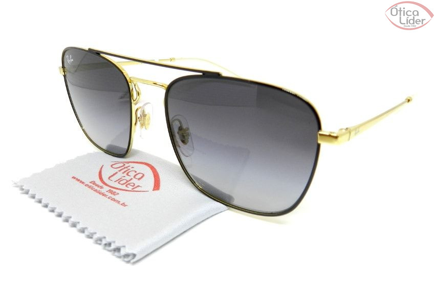 eda22a19923b3 Óculos de Sol Ray-Ban RB3588 9054 8g 55 Metal Preto   Dourado - 12x ...