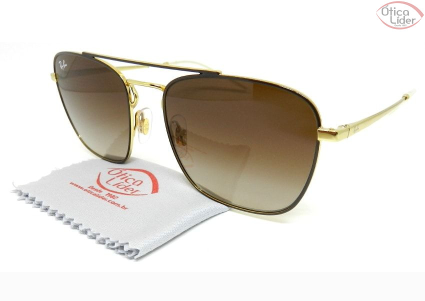 693e9e1e0e3a3 Óculos de Sol Ray-Ban RB3588 9055 13 55 Metal Marrom   Dourado - 12x ...