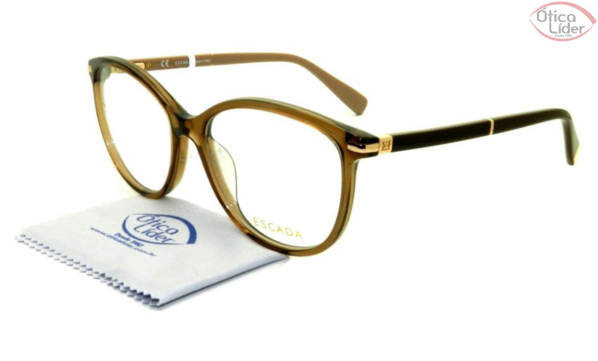 8afeb30ba2793 Escada VES 425 0b36 53 Acetato Marrom Transparente - Óculos de Grau ...