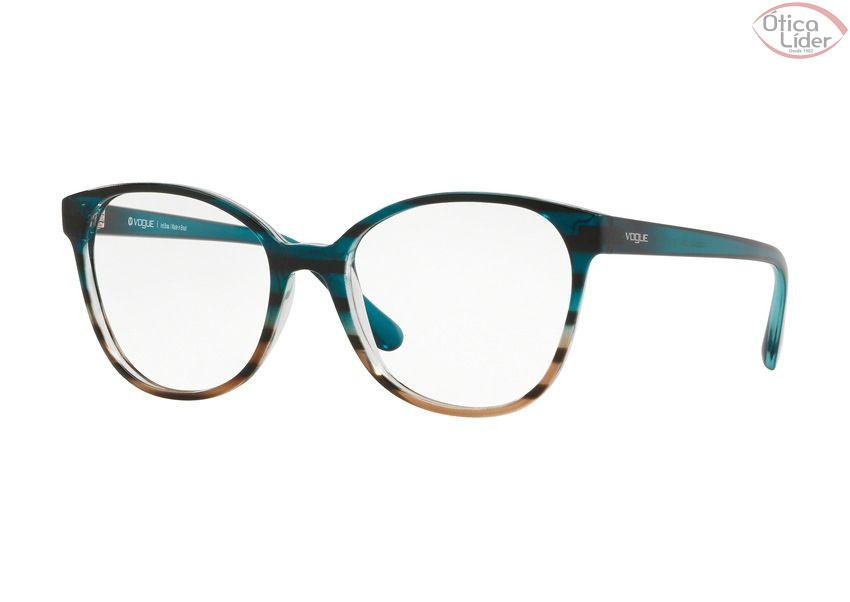 74b3e4bf19117 Vogue VO5234-l 2650 52 Acetato Azul   Marrom Listrado Transparente ...