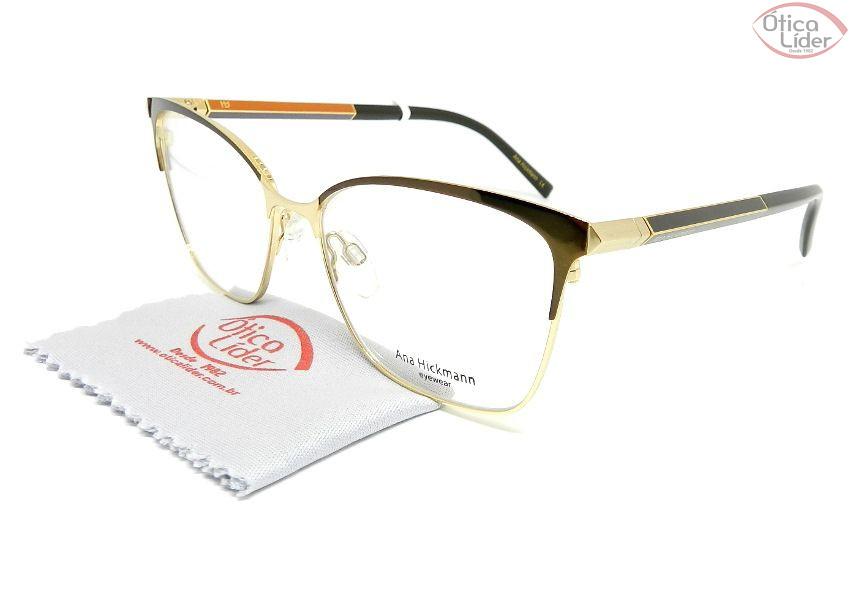Óculos Ana Hickmann AH1364 01a 54 Metal Dourado / Marrom