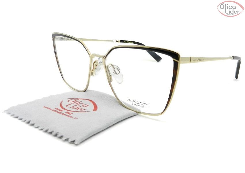 Óculos Ana Hickmann AH1373 04a 55 Gatinho Metal Dourado / Preto