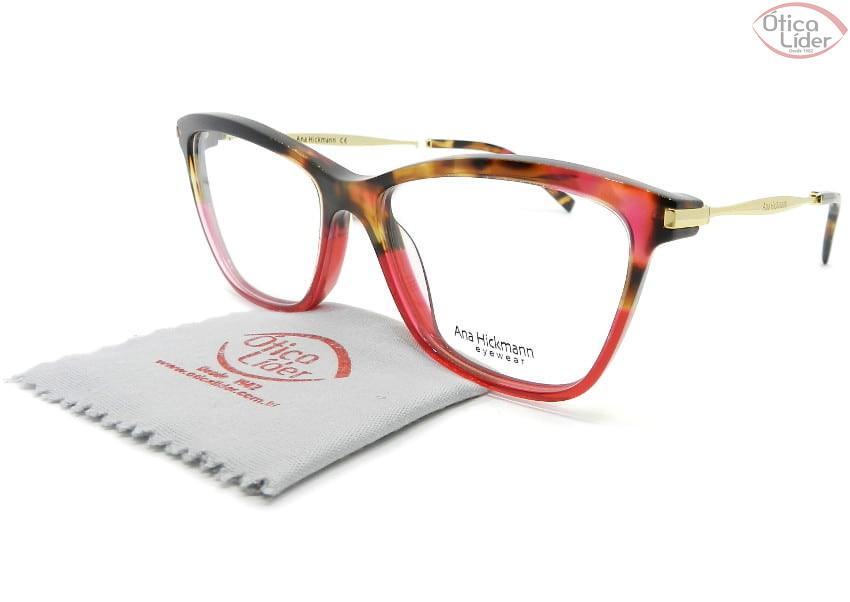Óculos Ana Hickmann AH6254 c01 55 Acetato Mesclado e Vermelho / Dourado
