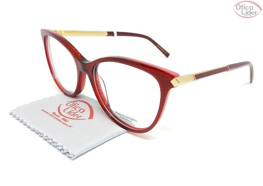 Óculos Ana Hickmann AH6321 c01 53 Acetato Vermelho/Bordô e Dourado