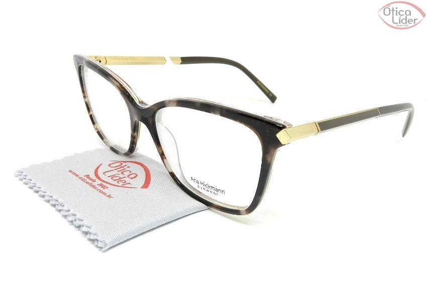 Óculos Ana Hickmann AH6322 h02 52 Acetato Mesclado Marrom e Dourado