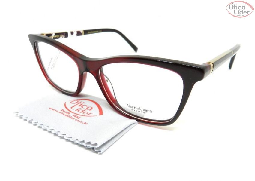 Óculos Ana Hickmann AH6341 c02 53 Acetato Vinho / Decorado