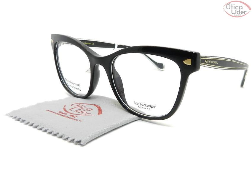 Óculos Ana Hickmann AH6366l a01 52 Acetato Preto / Dourado
