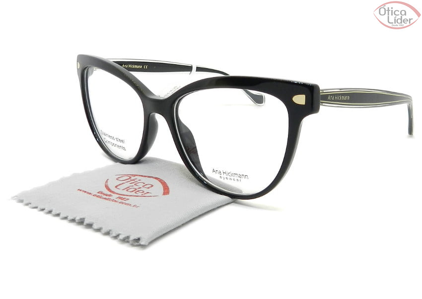Óculos Ana Hickmann AH6367l a01 53.5 Acetato Preto / Dourado