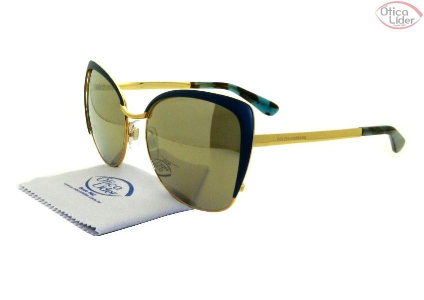 9f491725e581b Dolce   Gabbana DG2143 02 6g 57 Metal Azul   Dourado - 12x sem juros ...