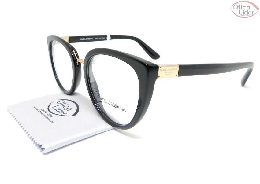 Dolce   Gabbana DG 3262 501 53 Acetato Preto   Metal Dourado - 12x ... 938761e582
