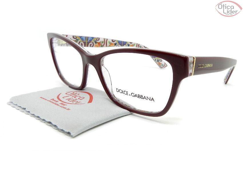 Dolce & Gabbana DG3274 3179 54 Acetato Bordô / Decoração Maiolica