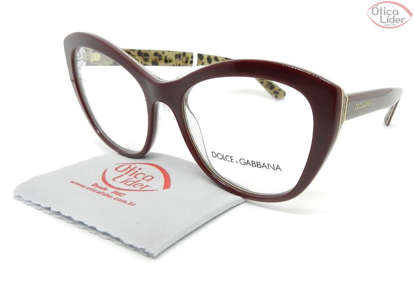 Dolce & Gabbana DG3284 3156 53 Acetato Bordô/Leopardo