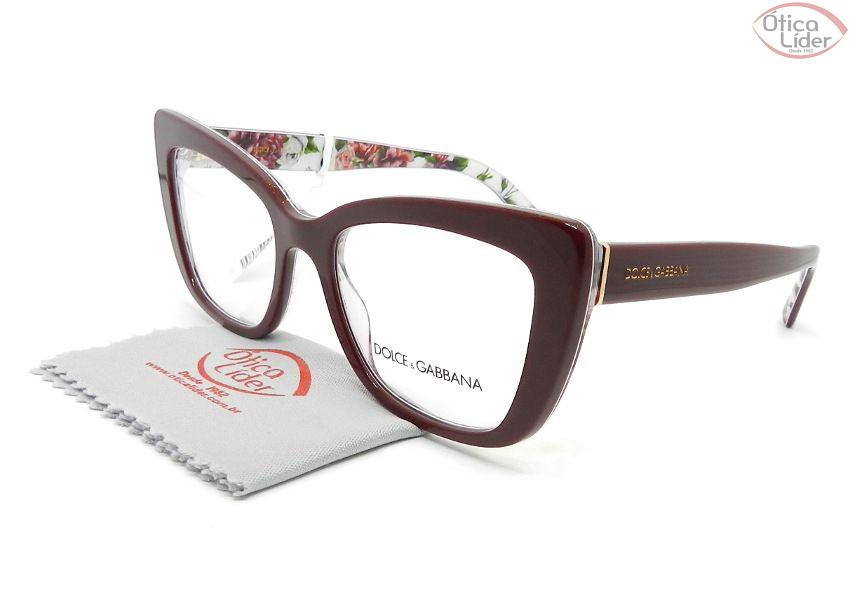 Dolce & Gabbana DG3308 3202 51 Acetato Bordô/Floral