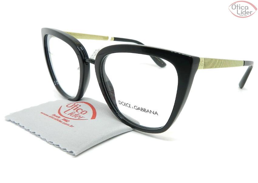 Dolce & Gabbana DG3314 501 55 Acetato Preto / Metal Dourado