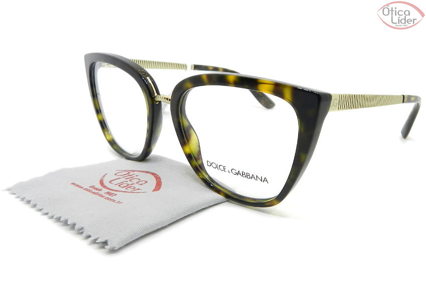 Dolce & Gabbana DG3314 502 55 Acetato Havana / Metal Dourado