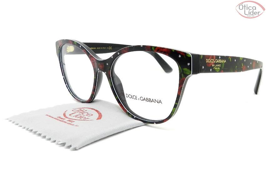 Dolce & Gabbana DG3322 3229 54 Acetato Preto Floral