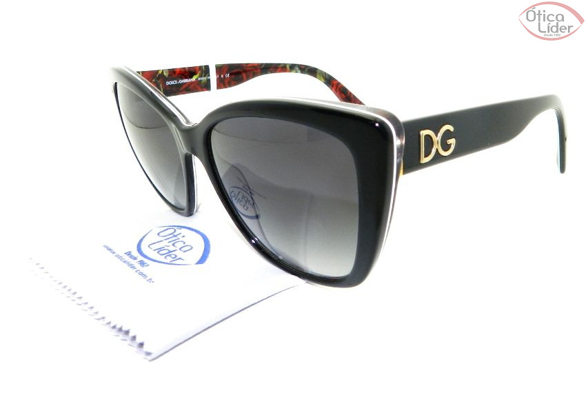 77a7d744c6c Dolce   Gabbana DG 4216 2940 8g 55 Acetato Preto   Floral - 12x sem ...