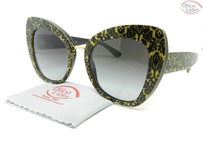 Dolce & Gabbana DG4319 3214/8g 51 Damasco Glitter Dourado / Preto