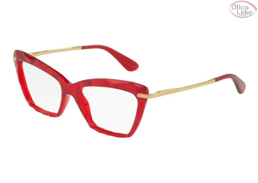 Dolce   Gabbana DG5025 3147 53 Acetato Vermelho Transparente   Dourado cb880d673f