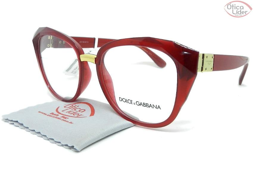 Dolce & Gabbana DG5041 1551 53 Acetato Vermelho Transparente / Dourado