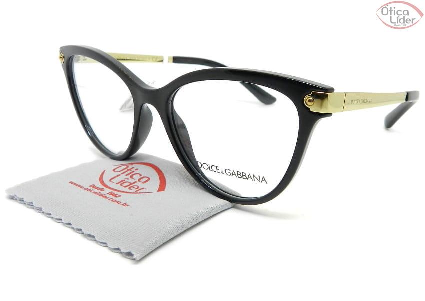Dolce & Gabbana DG5042 501 52 Acetato Preto / Metal Dourado