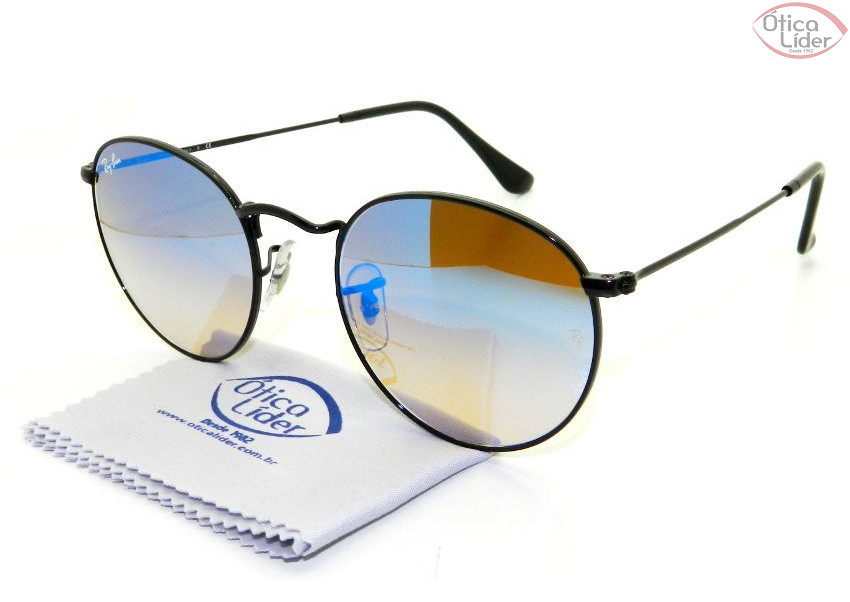 0e0d78e0a ... authentic ray ban rb 3447 002 4o 50 round metal preto azul espelhado  3ac82 00329