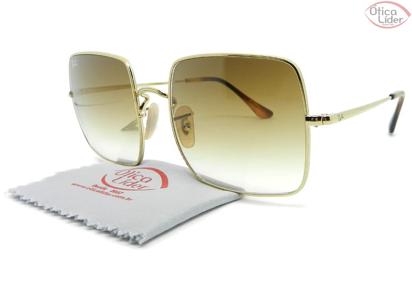 Ray-Ban Square RB1971 9147/51 54 Metal Dourado Lente Degradê