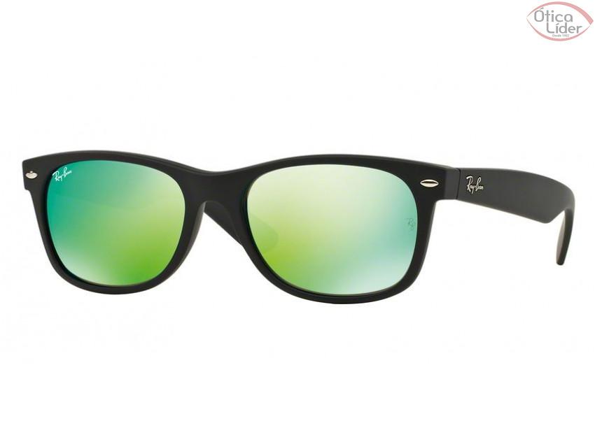 Ray-Ban RB 2132 622 19 52 New Wayfarer Preto Espelhado Verde - 12x ... 4fb41348fe