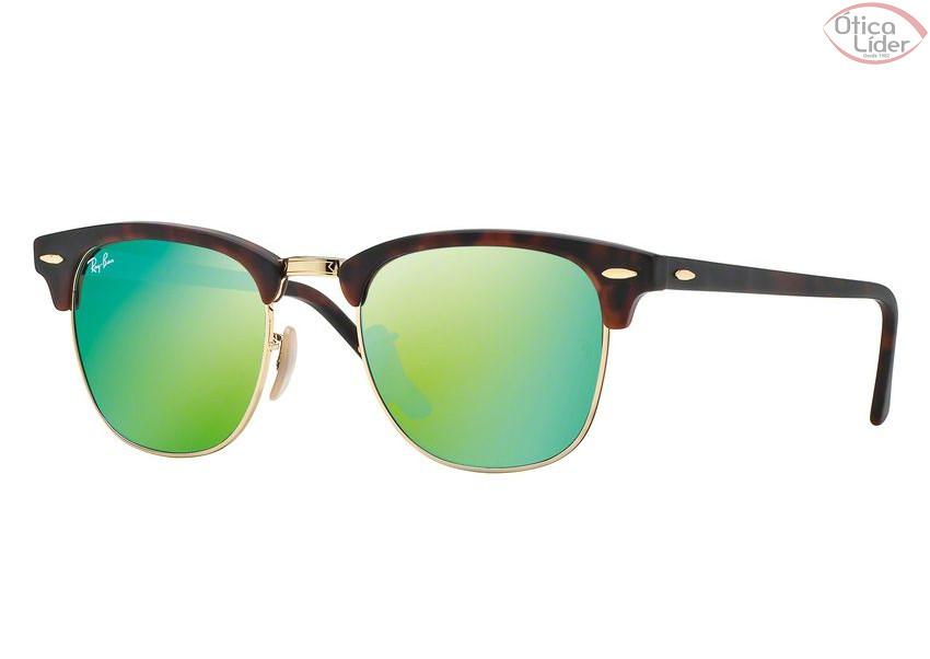 Ray-Ban RB 3016 1145 19 51 Clubmaster Demi Dourado Verde Espelhado ... 05f6be6456