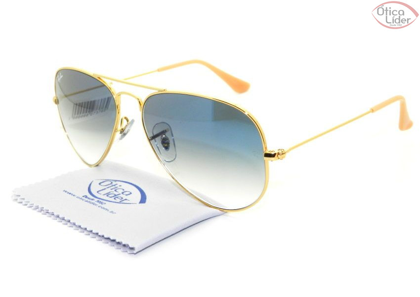 3199b06fa ... best price ray ban rb 3025l 001 3f 55 aviador metal dourado lente azul  degradê 2c25a