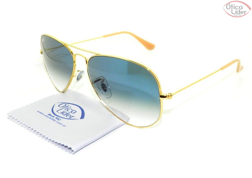 Ray-Ban RB3025l 001/3f 58 Aviador Metal Dourado Lente Azul Degradê