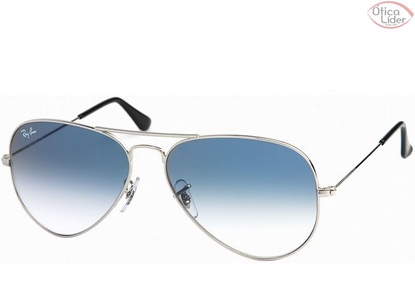 8df45e946b5a3 Ray-Ban RB 3025 003 3f 55 Aviador Metal Prata Lente Azul Degradê ...