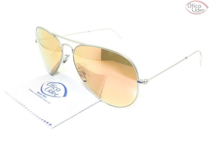 Ray-Ban RB 3025 019 z2 58 Aviador Metal Prata   Rosê Espelhado - 12x ... f802f888c6