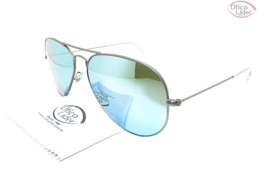 Ray-Ban RB 3025 029 30 58 Aviador Metal Prata   Azul Espelhado - 12x ... f2576ad4cf