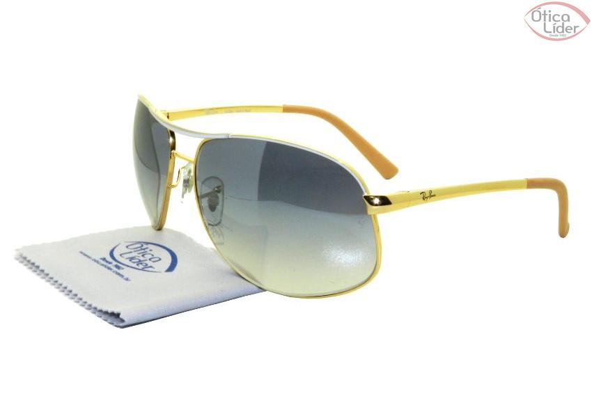 f04a87677ec1a Ray-Ban RB 3387l 077 7b 64 Aviador Metal Dourado   Branco - 12x sem ...