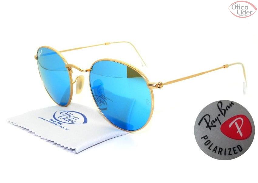 902392906 Ray-Ban RB3447 112/4l 50 Round Dourado Espelhado Polarizado - 12x ...
