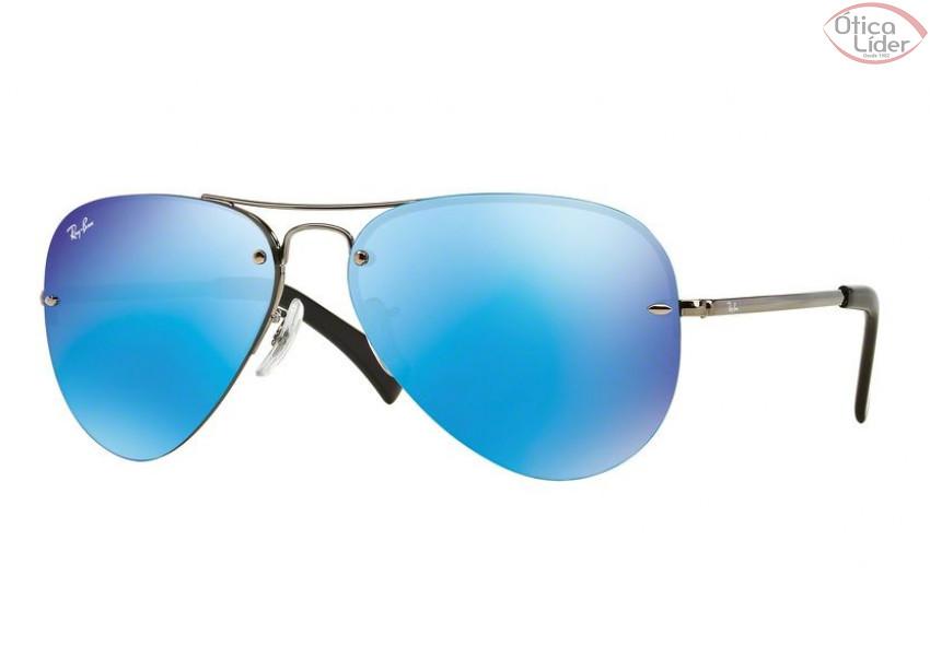 Ray-Ban RB 3449 004 55 59 Aviador Metal Chumbo Espelhado Azul - 12x ... cbc94411f1