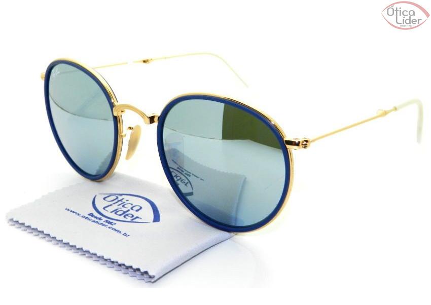 fab6a0836 Ray-Ban RB3517 001/30 51 Round Dourado Dobrável Espelhado Azul - 12x ...