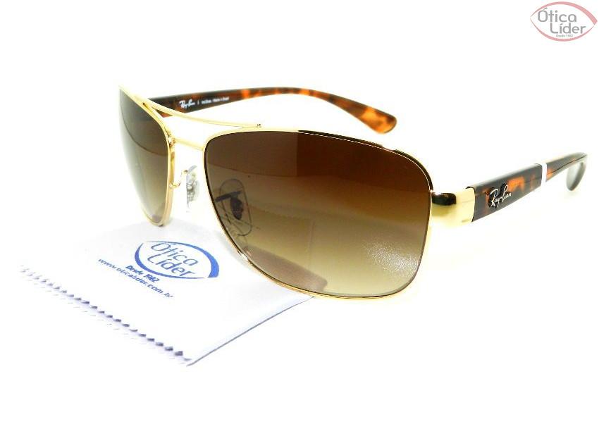 f08f37feb2536 Óculos de Sol Ray-Ban RB3518l 001 13 63 Dourado   Mesclado - 12x sem ...