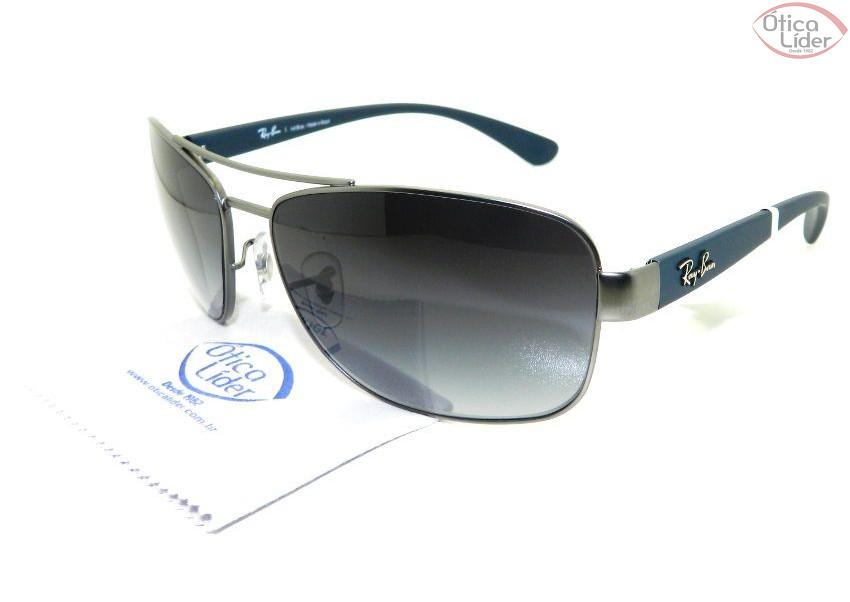 c6d62a32cce3b Ray-Ban RB 3518l 029 8g 63 Metal Prata   Azul - 12x sem juros ou 20 ...